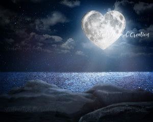 Heart Moon Digital Background