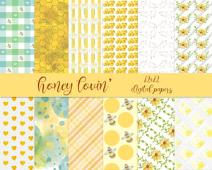 Watercolor Honey Digital Papers