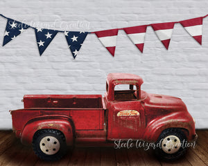 4th of July Vintage Red Truck USA Flag Backdrop