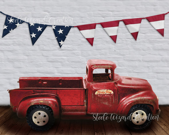 Vintage Red Truck USA Digital Backdrop - Steele Wizard Creation