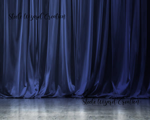 Blue Digital Backdrop Curtain Stage