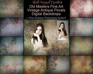 Fine Art Florals Vintage Digital Backdrops + Antique Photoshop Action