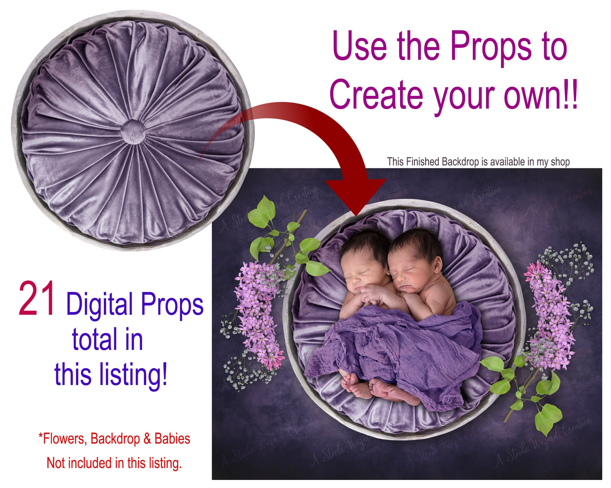 Childrens Newborns DIGITAL Photography Props