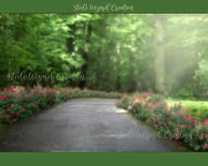 Spring Summer Flower Path 1 Digital Backdrop