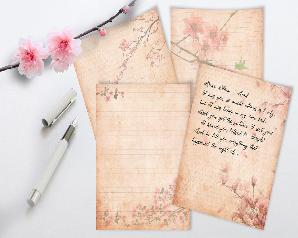 Printable Vintage style Cherry Blossom Stationery