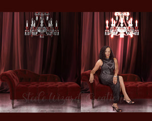 Red Curtain Royalty Chaise Lounge Backdrops