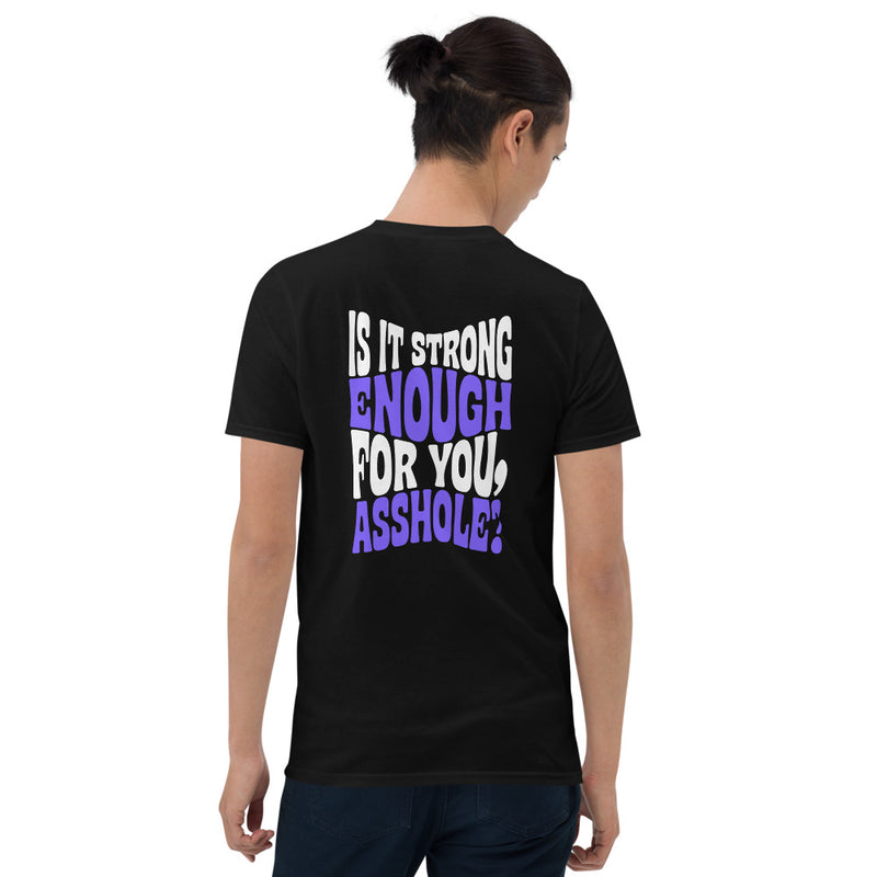 "Terence McKenna ""Is it strong enough, asshole?"" Purple Unisex T-Shirt"