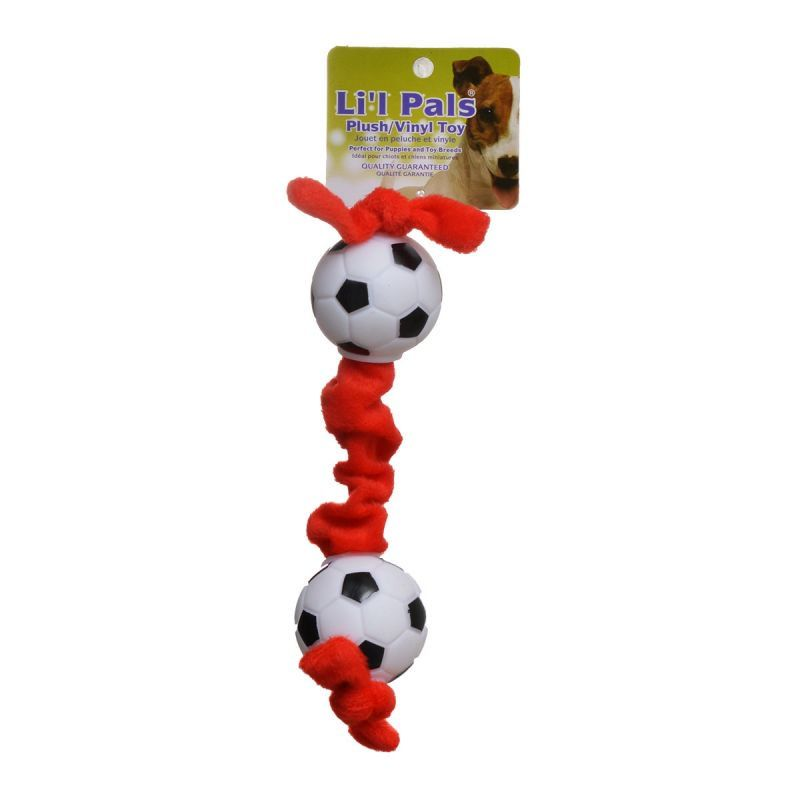 Li'l Pals Soccer Ball Plush Tug Dog Toy - Red, Black & White