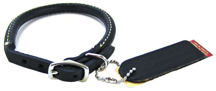 Circle T Pet Leather Round Collar - Black