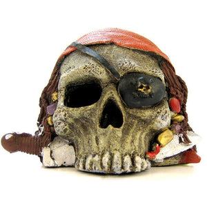 Blue Ribbon Pirate Skull Ornament