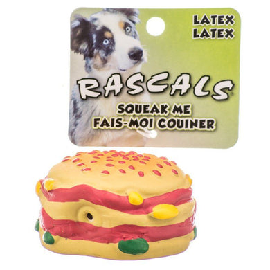 Rascals Latex Hamburger Dog Toy