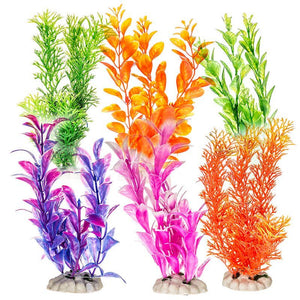 Aquatop Plastic Aquarium Plants Power Pack - Assorted Colors