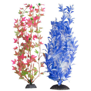 Aquatop Multi-Colored Aquarium Plants 2 Pack - Green/Pink & Blue/White