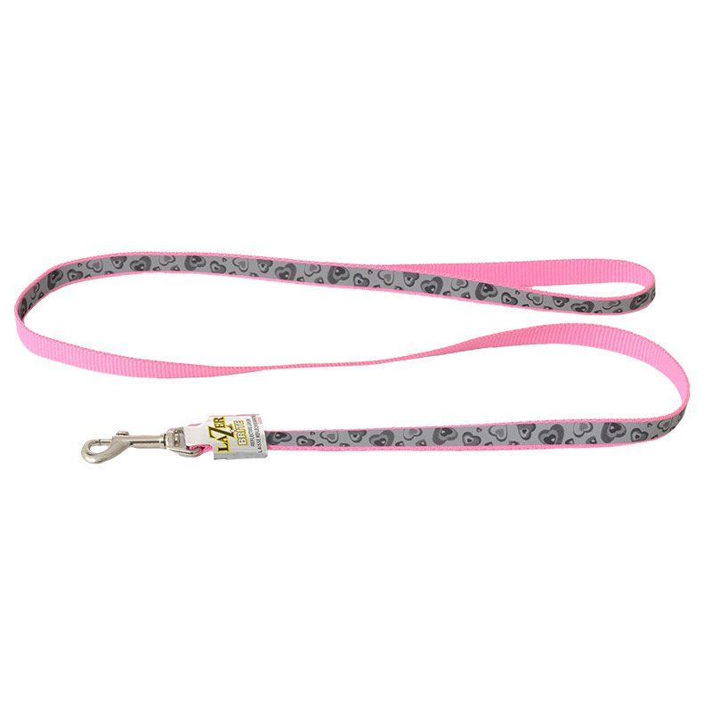 Lazer Brite Pink Hearts Reflective Dog Leash