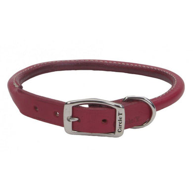 Circle T Oak Tanned Leather Round Dog Collar - Red