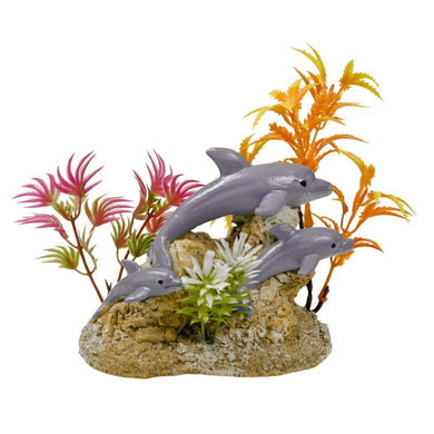 Exotic Environments Aquatic Scene with Dolphins Aquarium Ornament