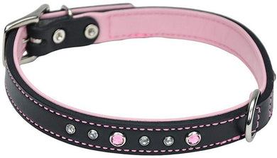 CircleT Fashion Leather Jewel Collar Pink