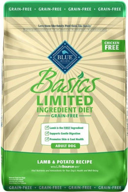 Blue Buffalo Basics Grain Free Natural Adult Dry Dog Food Lamb & Potato