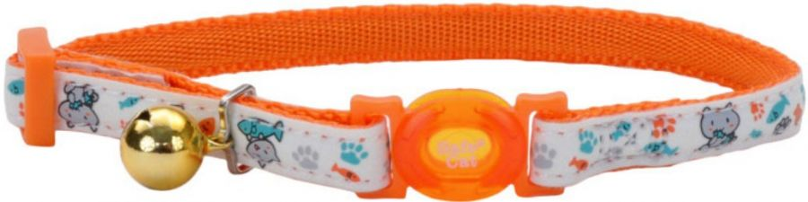 Coastal Pet Safe Cat Glow in the Dark Adjustable Collar Orange