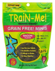 Crazy Dog Train Me! Grain Free Bacon Training Reward Treats - Mini