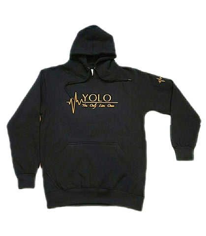 "10""  EMBROIDERED  BLACK YOLO HOODIE"