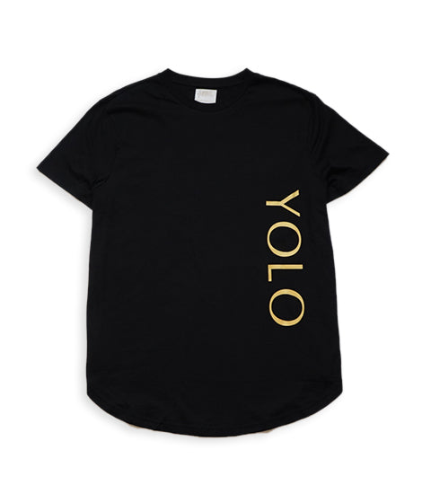 YOLO long T-Shirts w Front side logo Front & Back- BLACK