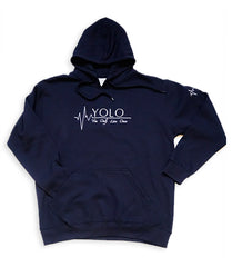 YOLO Hoodie Embroider Logo - NAVY BLUE