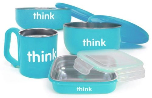 The Complete BPA Free Feeding Set Light Blue Thinkbaby