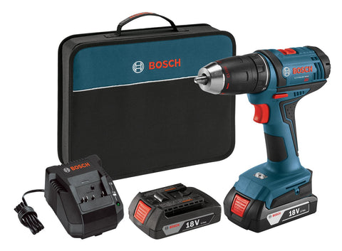 18-Volt Lithium-Ion 1/2-inch Compact Tough Drill/Driver Kit with 2 Batteries Charger and Contractor Bag 2 Battery Kit Bosch DDB181-02 Buy Now