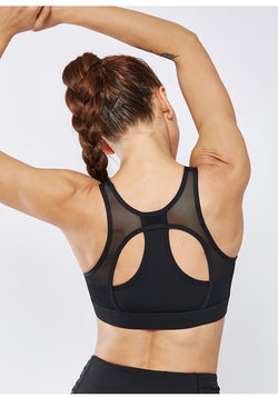 "FITEWE- ""Aspen"" Racer back Sports bra with 4 way stretch designed with padded removal cups"