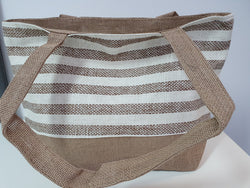Beach/Shopping Bag made from Recycled paper & Straw - Stripes