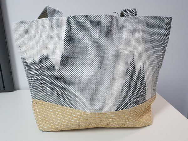 Beach/Shopping Bag made from recylced paper & straw- Abstract
