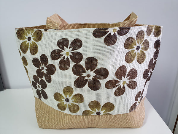 Beach/Shopping Bag  made from recycled paper & straw- Flowers
