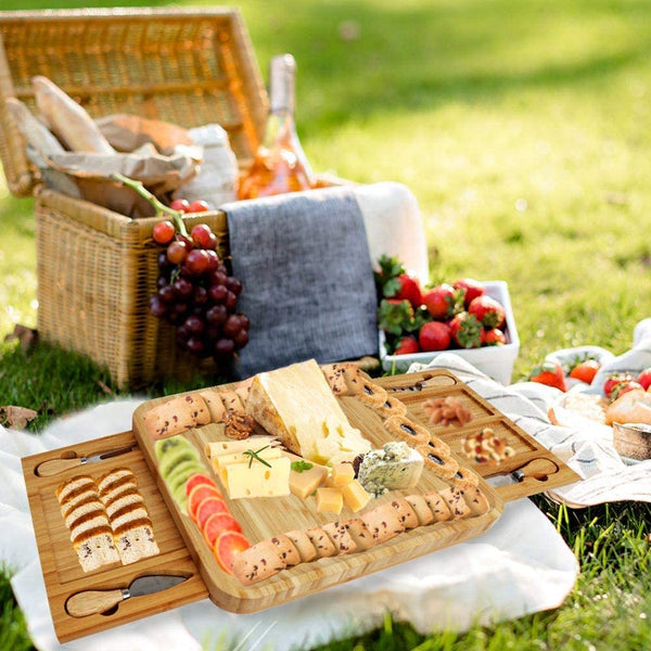 Bamboo Gourmet Cheese Board with 4 Cheese tools and pull out serving trays