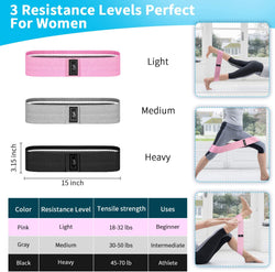 Excercise Resistance Booty Bands Light, Medium & Heavy  - 3 pack