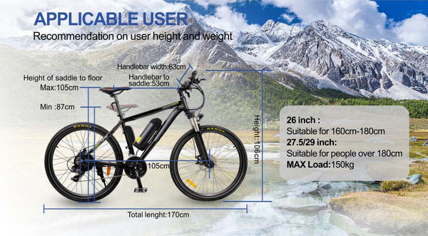 Electric Mountain Bike - 21 speed with USB charging Port - 36V250W