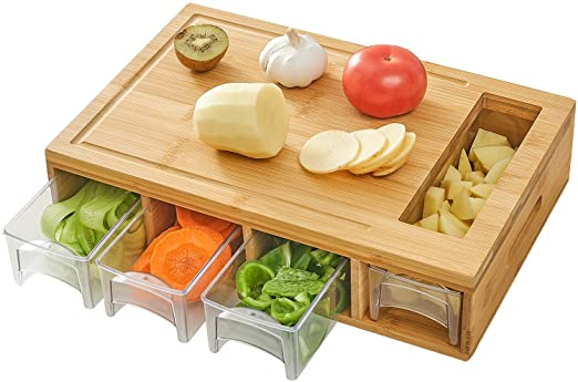 Bamboo Cutting Board with Inserts. Lightweight & Easy to Clean