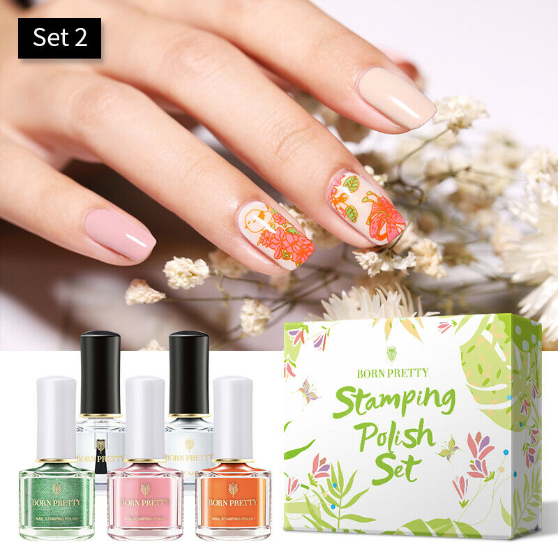 Nail Stamping Polish set of 5 With 1x Nail plate