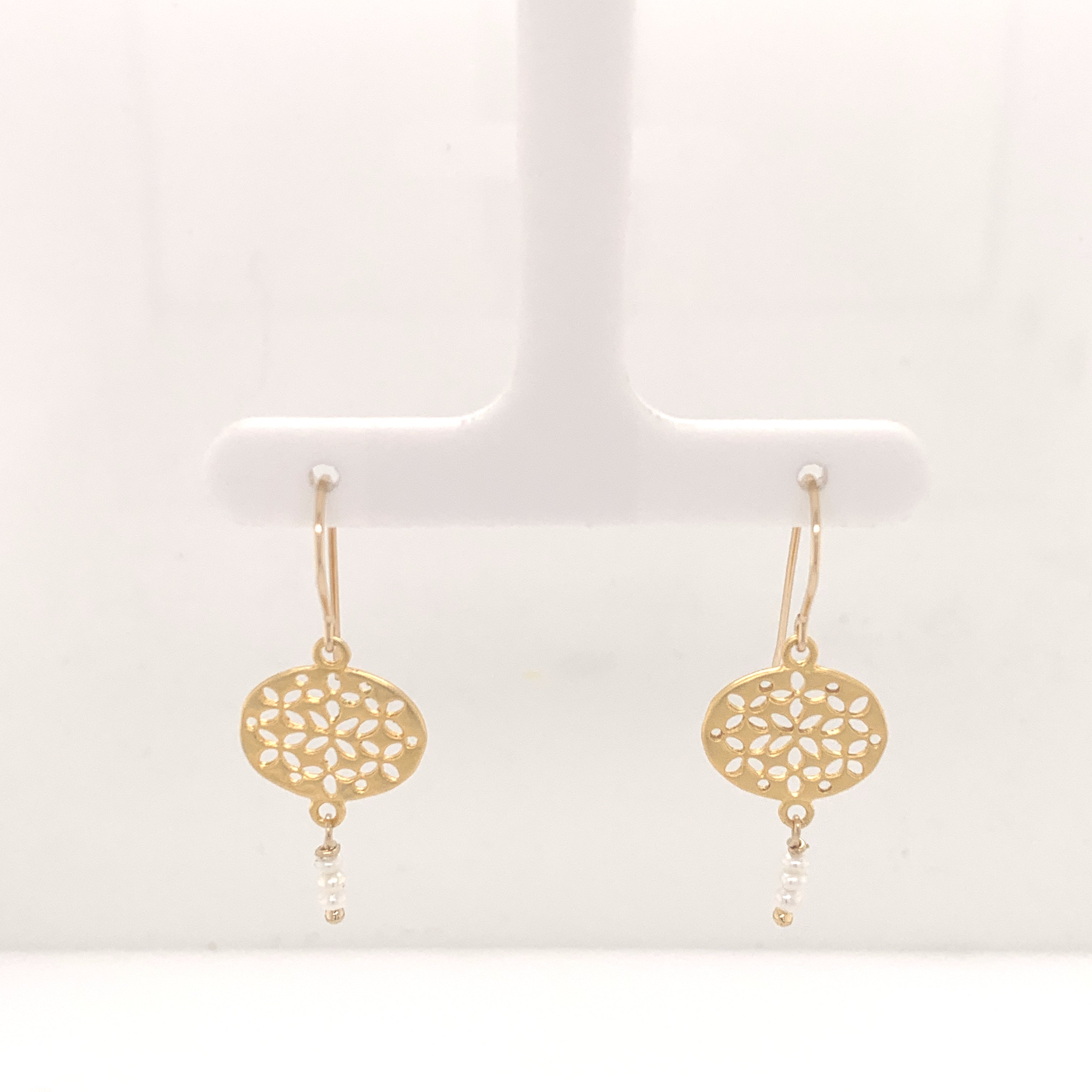Gold and Seed Pearl Cluster Drop Earrings