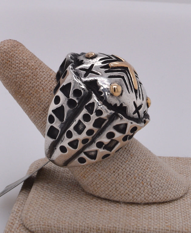 Dian Malouf Large Mixed Metal Dome Ring