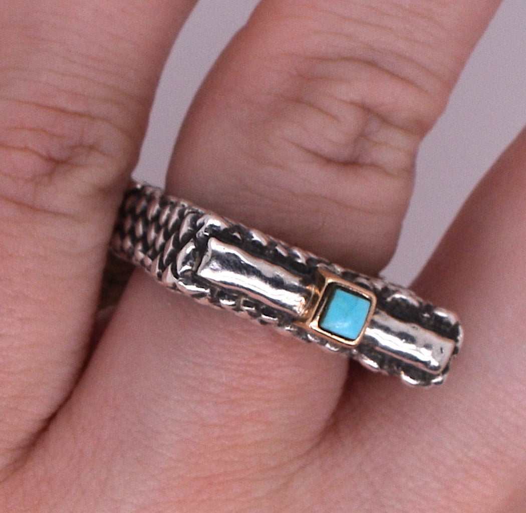 Dian Malouf Tiny Turquoise Sterling Silver Ring