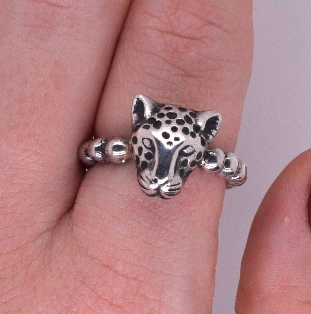 Dian Malouf Sterling Silver Leopard Ring