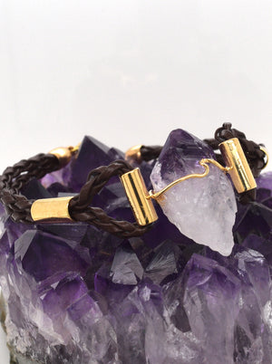 Raw Gemstone and Leather Bracelet