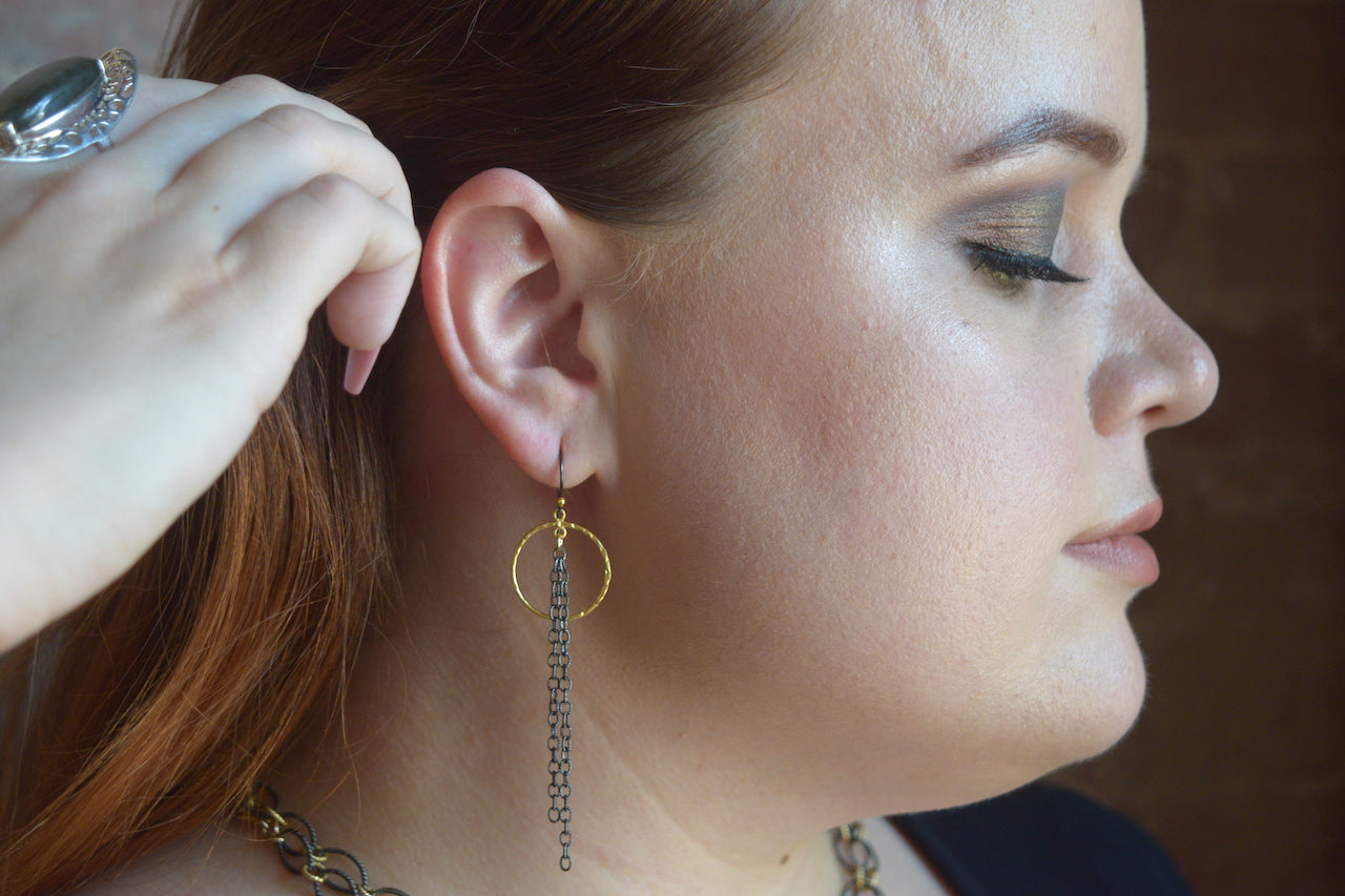 Dangling Chain Two Tone Circle Earrings