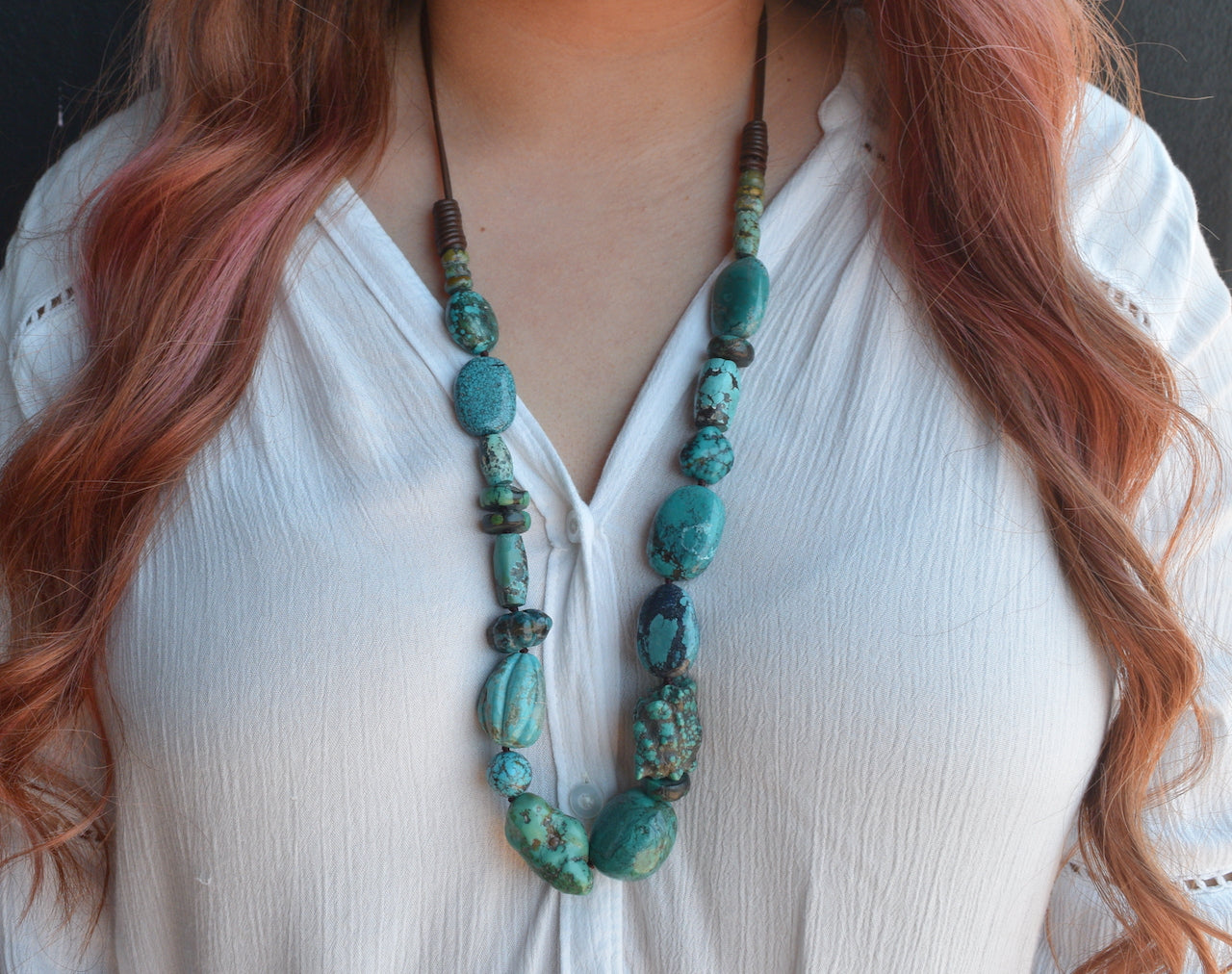 Chunky Turquoise and Leather Necklace