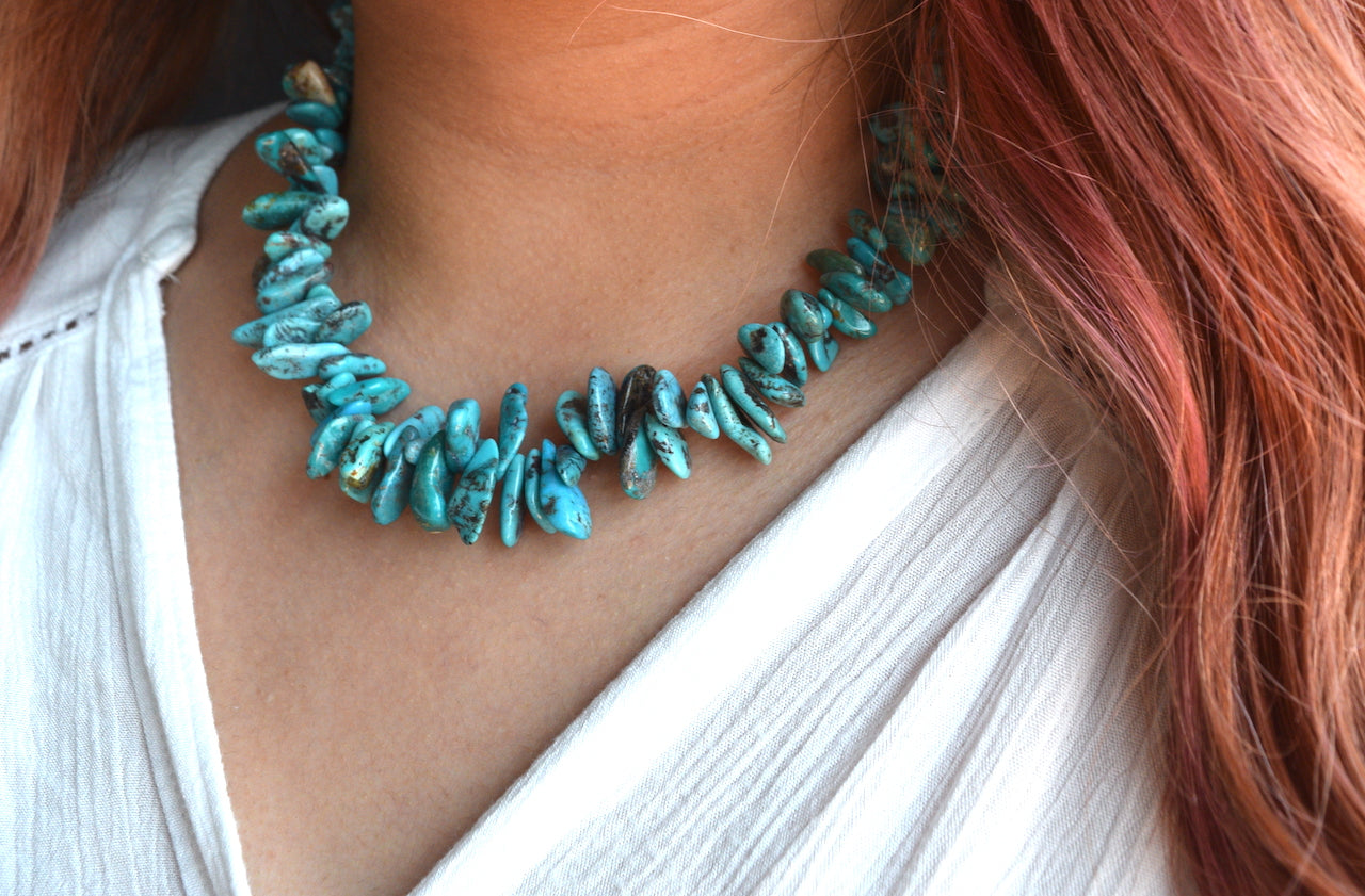 Chunky Small Turquoise Necklace