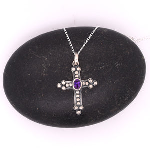 Sterling Silver Cross Center Stone Necklace