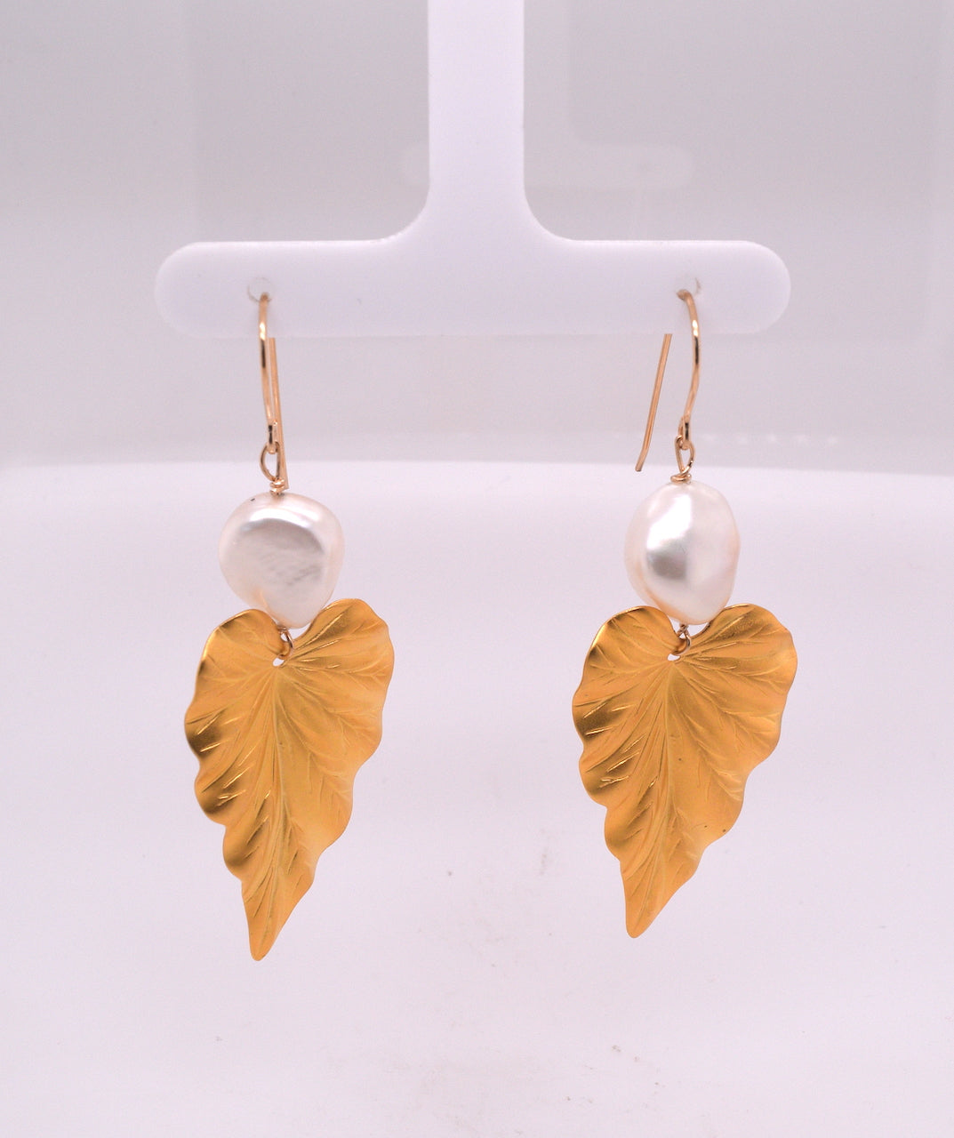 Pearl and Leaf Drop Earrings