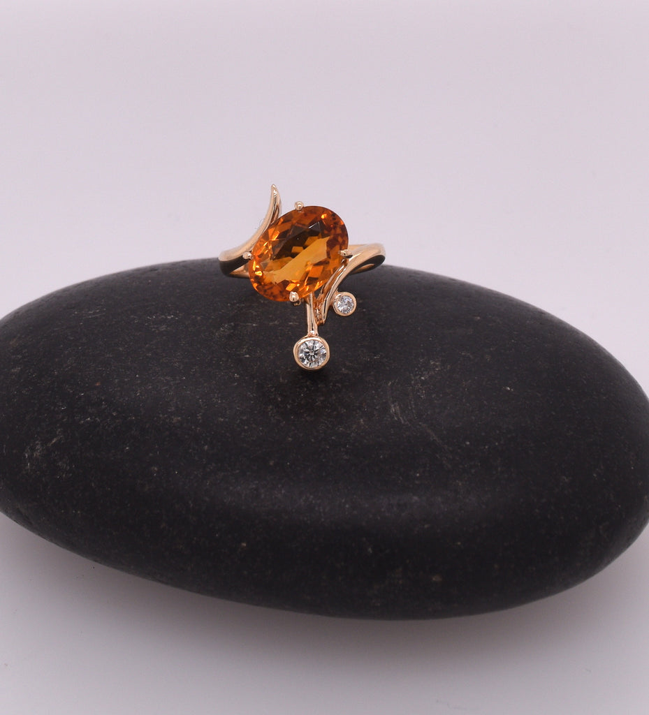 Abstract Spessartite Garnet and Diamond Ring