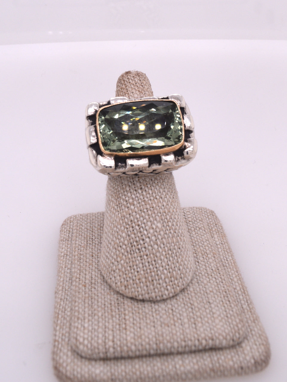 Dian Malouf Green Amethyst Statement Ring